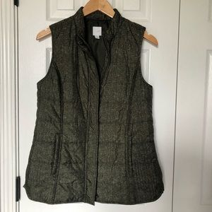 J. jill Green Puffer Zip Up Pocket Vest